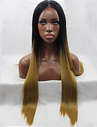 Heat Resistant Synthetic Lace Front Wig Long Straight Hair Ombre Black/Dark Brown Synthetic Wigs