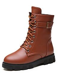 Women's Flats Winter Comfort PU Casual Flat Heel Buckle Black / Gray Others