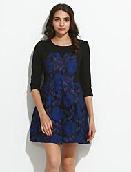 Damen A-Linie Kleid-Übergröße Einfach Stickerei Rundhalsausschnitt Mini ¾-Arm Lila Nylon Herbst Mittlere Hüfthöhe Unelastisch Mittel