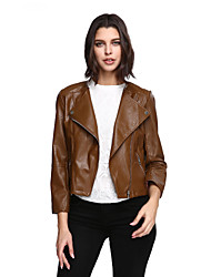 Women's Plus Size Going out Vintage Leather Jackets,Solid Long Sleeve Brown PU