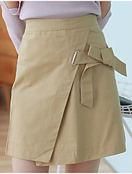 Women's Petite A Line Solid Denim Skirts,Casual/Daily Simple High Rise Above Knee Drawstring Cotton Micro-elastic Fall Winter