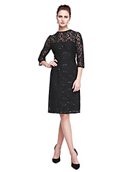2017 Lanting Bride® Sheath / Column Mother of the Bride Dress - Sparkle & Shine Little Black Dress Knee-length 3/4 Length Sleeve Lace with