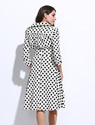 Balançoire Robe Femme Décontracté / Quotidien Vintage,Points Polka Col en V Mi-long Manches ¾ Rouge Blanc Noir Polyester Automne Hiver