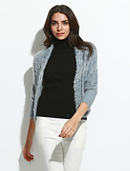 Women's Going out Cute Regular Cardigan,Solid Pink / White / Gray / Purple V Neck Long Sleeve Wool Spring / Fall Medium