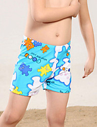 Girl Floral Color Block Print Swimwear,Spandex