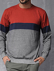 Men's Casual/Daily Simple Regular Pullover,Color Block Red Round Neck Long Sleeve Cotton Winter Thin Micro-elastic