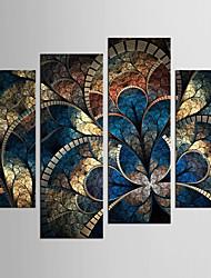 Абстракция Цветочные мотивы/ботанический Классика Европейский стиль,4 панели Холст Любая форма Печать Искусство Декор стены For Украшение