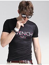 Herren Solide Geometrisch Einfach Lässig/Alltäglich T-shirt,Rundhalsausschnitt Kurzarm Schwarz Seide Mittel