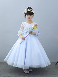 A-line Ankle-length Flower Girl Dress - Tulle Charmeuse Half Sleeve Jewel with Beading Flower(s) Lace