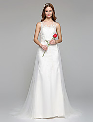 A-line Jewel Floor Length Lace Tulle Wedding Dress with Lace
