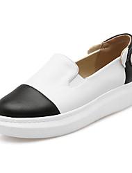 Women's Flats Spring Summer Fall Comfort PU Office & Career Athletic Casual Flat Heel Rivet Gore Slip-on Split Joint Black Pink White