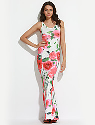 Women's Casual Party / Club Sexy / Vintage Pleated Trumpet/Mermaid DressFloral V Neck Maxi Sleeveless Mid Rise