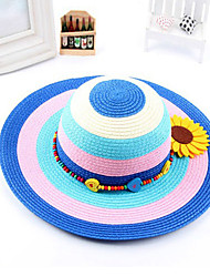 Girl's Fashion Cotton Summer Going out/Casual/Daily Rainbow Sunflower Sand Beach Headgear Straw Hat Children Cap