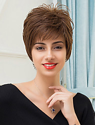 Fashion Slightly Texture Short Layered Capless Wigs Natural Straight Human Hair