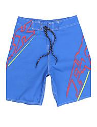 мужские быстросохнущая дышащая пляж плавать шорты печати полиэстер черный / синий
