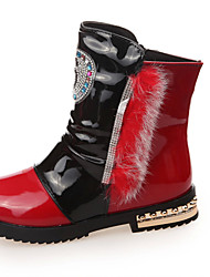 Girl's Boots Spring Fall Winter Comfort PU Casual Low Heel Magic Tape Red White Other