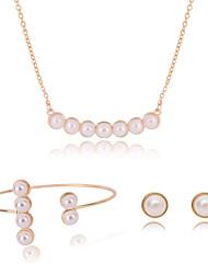 Women Wedding Bridal Round Sea Water Pearl Pendant Necklace Earrings Open Bracelet Set Sweater Clavicle Chain Accessories
