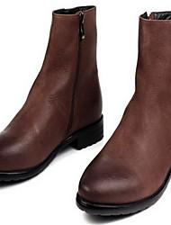 Для мужчин Ботинки Армейские ботинки Кожа Осень Зима Повседневные Армейские ботинки Черный Кофейный На плоской подошве