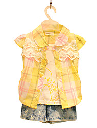 Girl's Cotton Fashion Spring/Fall Going out/Casual/Daily Sweet Embroidery Plaid Short Sleeve Shirt Children Tee
