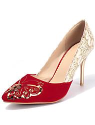 Women's Heels Spring Summer Fall Fleece Casual Party & Evening Stiletto Heel Flower Black Red