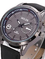 MILER Men's Korean Fashion Leather Watchband Simple Business Quartz Watch