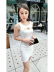 Women's Casual/Daily Sexy Bodycon Dress,Solid Strap Mini Sleeveless Pink White Black Cotton Spring Mid Rise Micro-elastic Medium