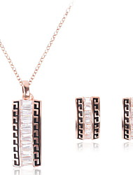 Women Wedding Bridal Square Pendant  Necklace Earrings Set Sweater Clavicle Chain Accessories