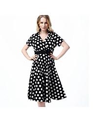 Women's Going out Sexy Sheath Dress,Polka Dot V Neck Above Knee Long Sleeve Black Cotton Fall High Rise Micro-elastic Medium