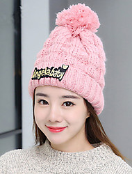 Fashion Winter Tide Letters Plus Cashmere Line Caps Warm Knit Hat Ear Sets Of Hat