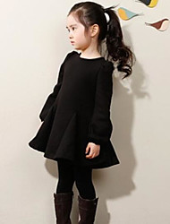 Girl's Casual/Daily Solid Dress,Cotton Winter Spring Long Sleeve