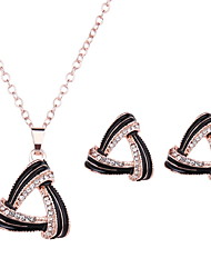 Women Wedding Party Black Hollow Triangle Whirlwind Pendant Rose Gold Clavicle Chain Necklace Earrings Two-piece