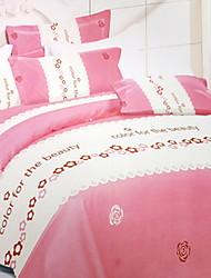 Solid Duvet Cover Sets 1 Piece Cotton Poly/Cotton Pattern Reactive Print Cotton Poly/Cotton Twin4pcs (1 Duvet Cover, 1 Flat Sheet, 2