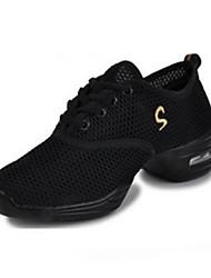 Non Customizable Women's Dance Shoes Fabric Fabric Modern Heels Chunky Heel Performance Red/Black Black / Gold