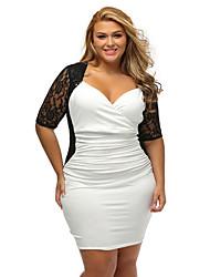 Women's Ruched Lace Illusion Plus Dress