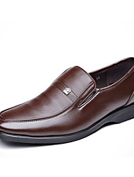 Men's Oxfords Spring Fall Comfort PU Outdoor Office & Career Casual Low Heel Black Light Brown Walking