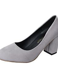 Для женщин Обувь на каблуках Полиуретан Весна Лето Повседневные На толстом каблуке Черный Бежевый Серый Розовый 4,5 - 7 см