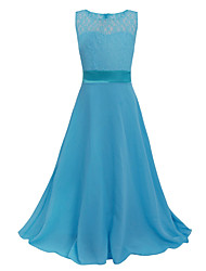 Princess Tea-length Flower Girl Dress - Lace Tulle Polyester Long Sleeve V-neck with Bow(s)