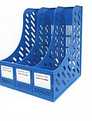 três colunas material de escritório rack de arquivo de bar - azul