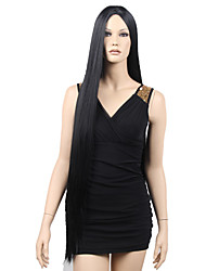 Top Quality Fashion Middle Part Long Straight Black Synthetic Wig for Sexy Lady Hot Sale.