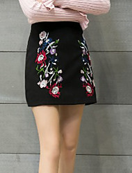 Women's A Line Solid Floral Skirts,Casual/Daily Simple Mid Rise Above Knee Zipper PU Micro-elastic Spring Fall