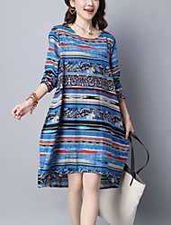Women's Casual/Daily Street chic Loose Thin Shirt Dress Striped Knee-length Long Sleeve Pink /Blue Cotton /Linen Spring /Fall