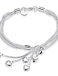 Bracciali Bracciali a catena e maglie Rame Argento placcato A forma di cuoreDoppio strato Tasselli Di tendenza stile della Boemia Stile