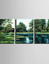 E-HOME Stretched Canvas Art Green Lake Decoration Painting Set Of 3