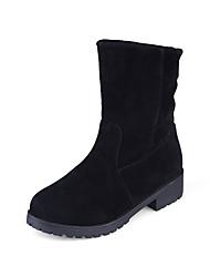 Women's Boots Winter Platform Fleece Outdoor Office & Career Casual Low Heel Slip-on Black Dark Brown