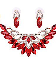 Jewelry Set Crystal Crystal Alloy Red Transparent Champagne Wedding Party 1set 1 Pair of Earrings Necklaces Wedding Gifts