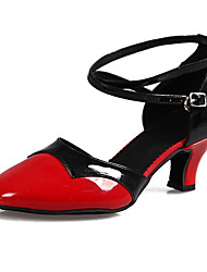 Women's Dance Shoes Leatherette Patent Leather Paillette Latin Sandals dance shoes Cuban Heel black and red Customizable