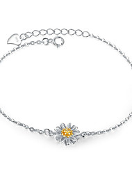 Women's Chain Bracelet Fashion Sterling Silver Flower Jewelry For Birthday Gift