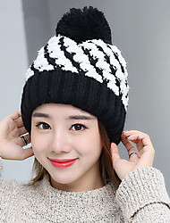 Fashion New Lady Plaid Wool Ball Cap Hat Knitted Hat