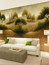 JAMMORY 3D Wallpaper For Home Contemporary Wall Covering Canvas Material Hillside Trees and Hay XL XXL XXXL