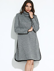 Women's Casual/Daily Street chic Sheath DressSolid Round Neck Above Knee Long Sleeve  Spring / Fall Mid Rise